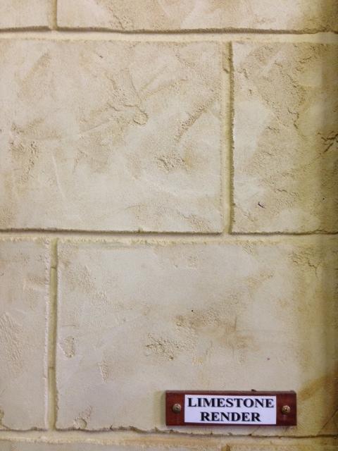 Limestone render in decorative Ashlar block